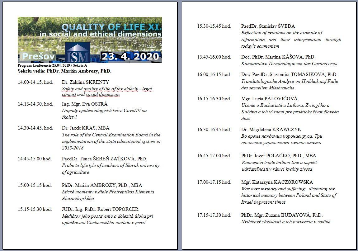 program sekcie quality of life